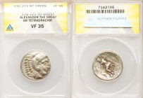 MACEDONIAN KINGDOM. Alexander III the Great (336-323 BC). AR tetradrachm (26mm, 10h). ANACS VF35. Posthumous issue of 'Amphipolis', ca. 320-317 BC. He...