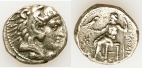 MACEDONIAN KINGDOM. Alexander III the Great (336-323 BC). AR tetradrachm (25mm, 16.88 gm, 11h). About XF, porosity. Late lifetime issue of Sidon, date...