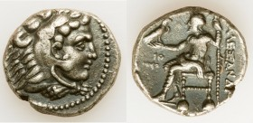 MACEDONIAN KINGDOM. Alexander III the Great (336-323 BC). AR tetradrachm (25mm, 16.96 gm, 1h). VF. Early posthumous issue of Tyre, dated Regnal Year 2...