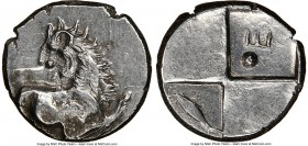 THRACE. Chersonesus. Ca. 4th century BC. AR hemidrachm (14mm). NGC XF. Persic standard, ca. 480-350 BC. Forepart of lion right, head reverted / Quadri...