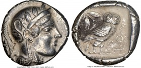 ATTICA. Athens. Ca. 455-440 BC. AR tetradrachm (24mm, 15.85 gm, 7h). NGC Choice XF 5/5 - 3/5. Early transitional issue. Head of Athena right, wearing ...