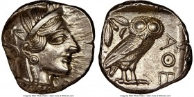 ATTICA. Athens. Ca. 440-404 BC. AR tetradrachm (25mm, 17.21 gm, 7h). NGC MS 4/5 - 4/5. Mid-mass coinage issue. Head of Athena right, wearing crested A...