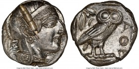ATTICA. Athens. Ca. 440-404 BC. AR tetradrachm (23mm, 17.20 gm, 9h). NGC MS 4/5 - 2/5, test cut. Mid-mass coinage issue. Head of Athena right, wearing...
