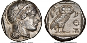 ATTICA. Athens. Ca. 440-404 BC. AR tetradrachm (24mm, 17.20 gm, 5h). NGC Choice AU 5/5 - 4/5. Mid-mass coinage issue. Head of Athena right, wearing cr...