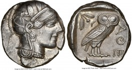 ATTICA. Athens. Ca. 440-404 BC. AR tetradrachm (25mm, 17.18 gm, 2h). NGC Choice AU 5/5 - 4/5, flan flaw. Mid-mass coinage issue. Head of Athena right,...