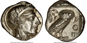 ATTICA. Athens. Ca. 440-404 BC. AR tetradrachm (24mm, 17.21 gm, 4h). NGC Choice AU 5/5 - 4/5, brushed. Mid-mass coinage issue. Head of Athena right, w...