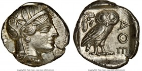 ATTICA. Athens. Ca. 440-404 BC. AR tetradrachm (25mm, 17.20 gm, 5h). NGC Choice AU 5/5 - 4/5, brushed. Mid-mass coinage issue. Head of Athena right, w...