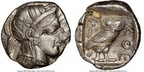 ATTICA. Athens. Ca. 440-404 BC. AR tetradrachm (26mm, 17.14 gm, 10h). NGC Choice AU 5/5 - 2/5, test cut. Mid-mass coinage issue. Head of Athena right,...