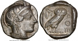 ATTICA. Athens. Ca. 440-404 BC. AR tetradrachm (24mm, 17.20 gm, 10h). NGC AU 5/5 - 5/5. Mid-mass coinage issue. Head of Athena right, wearing crested ...