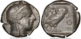 ATTICA. Athens. Ca. 440-404 BC. AR tetradrachm (25mm, 17.13 gm, 1h). NGC AU 5/5 - 4/5. Mid-mass coinage issue. Head of Athena right, wearing crested A...