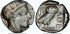 ATTICA. Athens. Ca. 440-404 BC. AR tetradrachm (23mm, 17.18 gm, 7h). NGC AU 5/5 - 4/5. Mid-mass coinage issue. Head of Athena right, wearing crested A...