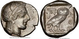 ATTICA. Athens. Ca. 440-404 BC. AR tetradrachm (25mm, 17.17 gm, 7h). NGC AU 5/5 - 3/5. Mid-mass coinage issue. Head of Athena right, wearing crested A...