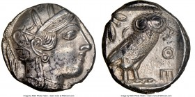 ATTICA. Athens. Ca. 440-404 BC. AR tetradrachm (24mm, 17.16 gm, 9h). NGC AU 5/5 - 3/5. Mid-mass coinage issue. Head of Athena right, wearing crested A...