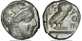 ATTICA. Athens. Ca. 440-404 BC. AR tetradrachm (23mm, 17.19 gm, 1h). NGC AU 4/5 - 4/5. Mid-mass coinage issue. Head of Athena right, wearing crested A...