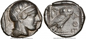 ATTICA. Athens. Ca. 440-404 BC. AR tetradrachm (25mm, 17.17 gm, 6h). NGC AU 5/5 - 3/5, brushed. Mid-mass coinage issue. Head of Athena right, wearing ...