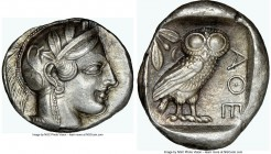 ATTICA. Athens. Ca. 440-404 BC. AR tetradrachm (26mm, 17.26 gm, 3h). NGC AU 5/5 - 3/5, die shift. Mid-mass coinage issue. Head of Athena right, wearin...