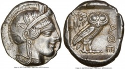 ATTICA. Athens. Ca. 440-404 BC. AR tetradrachm (26mm, 17.16 gm, 6h). NGC AU 5/5 - 2/5, brushed, die shift. Mid-mass coinage issue. Head of Athena righ...