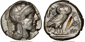 ATTICA. Athens. Ca. 440-404 BC. AR tetradrachm (22mm, 17.20 gm, 9h). NGC AU 5/5 - 2/5, test cut. Mid-mass coinage issue. Head of Athena right, wearing...