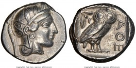 ATTICA. Athens. Ca. 440-404 BC. AR tetradrachm (24mm, 17.16 gm, 1h). NGC Choice XF 5/5 - 5/5. Mid-mass coinage issue. Head of Athena right, wearing cr...