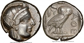 ATTICA. Athens. Ca. 440-404 BC. AR tetradrachm (23mm, 17.12 gm, 10h). NGC Choice XF 5/5 - 4/5. Mid-mass coinage issue. Head of Athena right, wearing c...