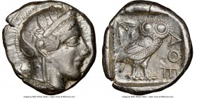 ATTICA. Athens. Ca. 440-404 BC. AR tetradrachm (25mm, 17.18 gm, 4h). NGC Choice XF 4/5 - 4/5. Mid-mass coinage issue. Head of Athena right, wearing cr...
