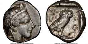ATTICA. Athens. Ca. 440-404 BC. AR tetradrachm (24mm, 17.17 gm, 3h). NGC Choice XF 4/5 - 4/5. Mid-mass coinage issue. Head of Athena right, wearing cr...