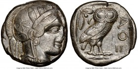 ATTICA. Athens. Ca. 440-404 BC. AR tetradrachm (23mm, 17.15 gm, 1h). NGC Choice XF 3/5 - 3/5. Mid-mass coinage issue. Head of Athena right, wearing cr...