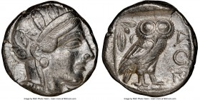 ATTICA. Athens. Ca. 440-404 BC. AR tetradrachm (23mm, 17.17 gm, 3h). NGC XF 5/5 - 3/5. Mid-mass coinage issue. Head of Athena right, wearing crested A...