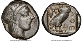 ATTICA. Athens. Ca. 440-404 BC. AR tetradrachm (25mm, 17.18 gm, 3h). NGC Choice VF 5/5 - 3/5. Mid-mass coinage issue. Head of Athena right, wearing cr...
