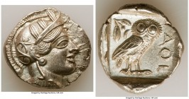 ATTICA. Athens. Ca. 440-404 BC. AR tetradrachm (28mm, 17.17 gm, 9h). AU. Mid-mass coinage issue. Head of Athena right, wearing crested Attic helmet or...