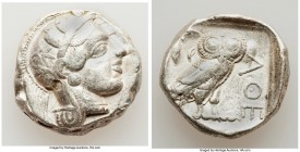 ATTICA. Athens. Ca. 440-404 BC. AR tetradrachm (24mm, 17.13 gm, 6h). About VF. Mid-mass coinage issue. Head of Athena right, wearing crested Attic hel...