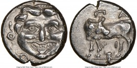 MYSIA. Parium. Ca. 4th century BC. AR hemidrachm (12mm, 6h). NGC AU. Facing Gorgoneion, tongue protruding below upper row of teeth, coiled snakes arou...