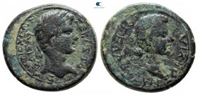Caria. Antiocheia ad Maeander. Augustus with Livia 27 BC-AD 14. Agelaos (chairperson of the synarchia). Bronze Æ