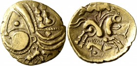 NORTHWEST GAUL. Aulerci Eburovices. Late 2nd to first half of 1st century BC. Half Stater (Electrum, 19 mm, 3.24 g, 12 h), 'au sanglier' type. Celtici...