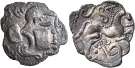 NORTHWEST GAUL. Aulerci Cenomani. Circa 80-50 BC. 'Obol' (Silver, 15 mm, 0.83 g, 4 h). Helmeted head to right. Rev. Celticized horse to right; above, ...
