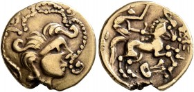 NORTHWEST GAUL. Baiocassi. Late 2nd to mid 1st century BC. Quarter Stater (Electrum, 13 mm, 1.84 g, 12 h), 'au lyre' type. Celticized male head to rig...