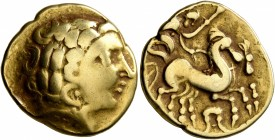NORTHWEST GAUL. Carnutes. 3rd century BC. Stater (Gold, 20 mm, 7.36 g, 2 h), 'à la tête de face' type. Celticized laureate head of Apollo to right. Re...