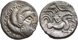 CELTIC, Northwest Gaul. Coriosolites. Circa 100-50 BC. Stater (Silver, 20 mm, 6.07 g, 1 h), 'au nez pointé' type. Celticized male head to right, the h...