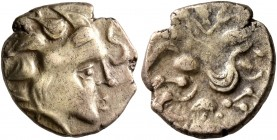 NORTHWEST GAUL. Namnetes. Late 2nd to mid 1st century BC. Quarter Stater (Electrum, 12 mm, 1.78 g, 2 h), 'a l'hippophore' type. Celticized head of Apo...