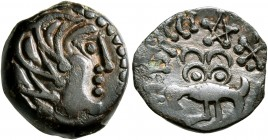 NORTHWEST GAUL. Senones. Circa 100-60 BC. AE (Bronze, 15 mm, 2.61 g, 10 h). Celticized male head to right. Rev. YLLVCCI Abstract bird standing left, t...