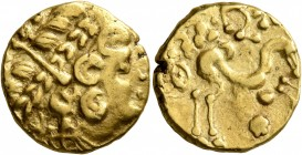 NORTHEAST GAUL. Ambiani. Late 2nd to mid 1st century BC. Stater (Gold, 17 mm, 7.59 g, 2 h), 'statère biface au flan court' type. Celticized laureate h...
