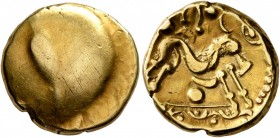NORTHEAST GAUL. Ambiani. Circa 60-30 BC. Stater (Gold, 16 mm, 6.17 g), 'statére uniface' type. Irregular blank convex surface. Rev. Celticized horse g...