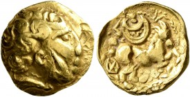 NORTHEAST GAUL. Atrebates. 3rd to early 2nd century BC. Quarter Stater (Gold, 12 mm, 2.05 g, 7 h), 'au croissant' type. Male head with curley hair and...