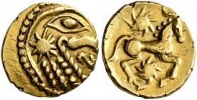 NORTHEAST GAUL. Bellovaci. Circa 60-30/25 BC. Quarter Stater (Gold, 12 mm, 1.48 g, 6 h), 'à l'astre' type. Devolved and disjointed male head to right,...