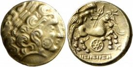 NORTHEAST GAUL. Caleti. 2nd century BC. Half Stater (Electrum, 15 mm, 3.26 g, 7 h), 'type nord-armoricain - à la roue'. Celticized laureate male head ...
