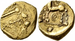 NORTHEAST GAUL. Remi. Late 2nd to mid 1st century BC. Stater (Electrum, 18 mm, 6.15 g, 5 h), 'à l'oeil' type. Devolved and disjointed laureate male he...