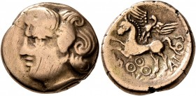 CENTRAL GAUL. Bituriges Cubi. Circa 80-50 BC. Stater (Electrum, 19 mm, 6.69 g, 9 h), Abucatos. Celticized male head to left with thick and prominent c...