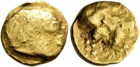 NORTHEAST GAUL. Mediomatrici (?). 2nd century BC. 1/4 Stater (Gold, 11 mm, 2.07 g), imitating Philip II of Macedon. Devolved male head to right. Rev. ...