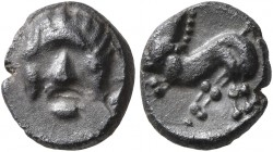 CENTRAL EUROPE. Noricum (East). 1st century BC. Obol (Silver, 9 mm, 0.83 g, 12 h). Celticized male head facing. Rev. Celticized horse prancing left. F...