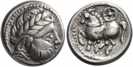 MIDDLE DANUBE. Uncertain tribe. 2nd-1st centuries BC. Drachm (Silver, 13 mm, 2.66 g, 11 h), 'Kugelwange' type. Celticized laureate head of Zeus to rig...